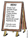 Cartoon: Hugs 2 go for hurried people (small) by Frits Ahlefeldt tagged love,affection,coffee2go,kindness,businesspeople,hugs,smiles,life,cartoon