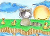 Cartoon: Kitty or Racoon vs. Quitschenten (small) by Metalbride tagged traiding,card,crads,karten,karte