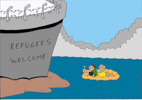 Cartoon: refugees welcome (medium) by kader altunova tagged eu,europa,osteuropa,festung,asyl,meer