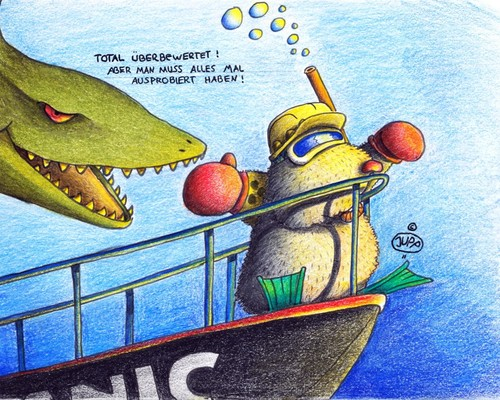Cartoon: Maulwurf Titanic (medium) by Jupp tagged bug,schnorcheln,taucher,brille,taucherbrille,schnorchel,welt,der,könig,helm,blind,kino,film,jupp,bomm,hai,tauchen,schiff,titanic,mole,maulwurf,flossen,wasser,water,deepsea,sea,ocean,meer,see,die,wrack,cinema,great,klassiker