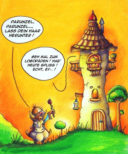 Cartoon: Rapunzel (medium) by Jupp tagged jupp,cartoon,rapunzel,märchen