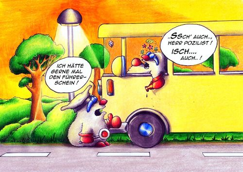 Cartoon: Verkehrskontrolle (medium) by Jupp tagged cartoon,polizei,maulwurf,jupp