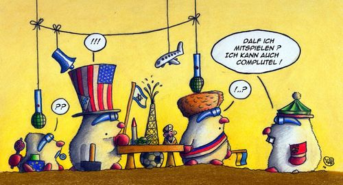 Cartoon: Wir spielen uns die Welt (medium) by Jupp tagged maulwurf,mole,politik,politics,jupp,cartoon
