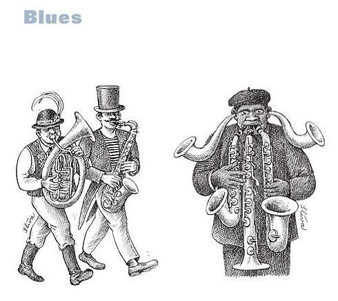 Cartoon: Blues (medium) by Jiri Sliva tagged blues,music