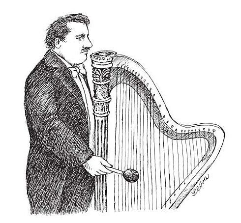 Cartoon: Harp (medium) by Jiri Sliva tagged music,harp