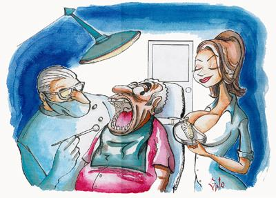 Cartoon: DENTIST (medium) by huemulin tagged comic,humour,galo,cartoon,jaime,huerta,huemulin,gag
