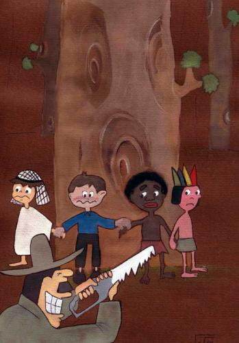 Cartoon: Children and Forest (medium) by nikooray tagged children,forest,protect