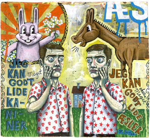 Cartoon: bunny and donkey (medium) by rasmus juul tagged acryllic,on,board