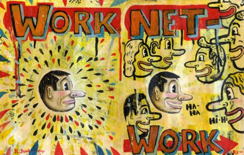 Cartoon: networking (medium) by rasmus juul tagged acryllic,on,board