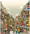 Cartoon: tokyo - new york (small) by rasmus juul tagged brush,and,photoshop