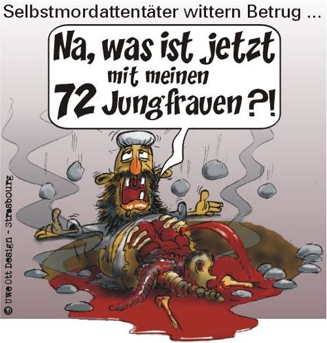 Cartoon: 72 Jungfrauen (medium) by BARHOCKER tagged jungfrauen,djihad,irak,afghanistan