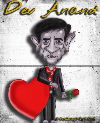 Cartoon: Dev Anand Caricature (medium) by gursharanthecartoonist tagged dev,anand,romantic,hero