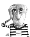 Cartoon: Pablo Picasso (small) by tamer_youssef tagged pablo,picasso,spain,painter,cubist,cubisim,caricature,cartoon,portrait,pencil,art,illustration,sketch,tamer,youssef,egypt,usa