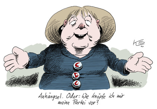 Cartoon: Anhängsel (medium) by Stuttmann tagged merkel,cdu