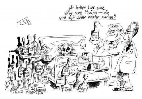 Cartoon medizin medium by stuttmann tagged spd müntefering agenda