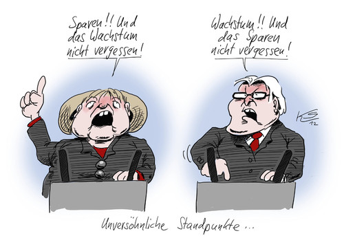 Cartoon: Unversöhnlich (medium) by Stuttmann tagged wachstum,sparen,steinmeier,merkel