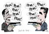 Cartoon: Duell (small) by Stuttmann tagged obama,romney,tv,duell,wahlen,usa,präsident