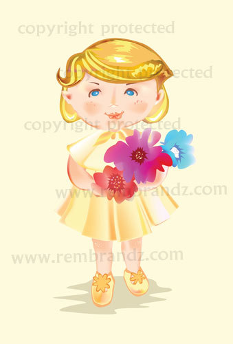 Cartoon: Baby Girl with Flowers (medium) by remyfrancis tagged cute,baby,girl,bouquet,flower,gift,greetings