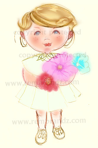 Cartoon: Cute Girl with flowers 2 (medium) by remyfrancis tagged cartoon,cute,baby,girl,flowers,gift,greeting