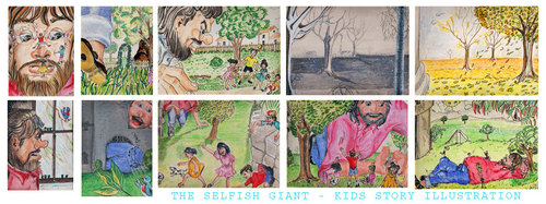 Cartoon: Selfish Giant Kids Story (medium) by remyfrancis tagged kids,childrens,story,book,illustration,water,colour,pencils