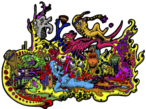 Cartoon: urban monsters (medium) by Svarty tagged jungle,colour,monster,urban