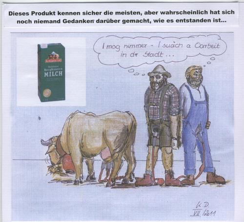 Cartoon: Bergbauernmilch (medium) by tobelix tagged milch,milk,kuh,cow,bergbauer,mountainfarmer,echt,falsch,real,fake,tobelix