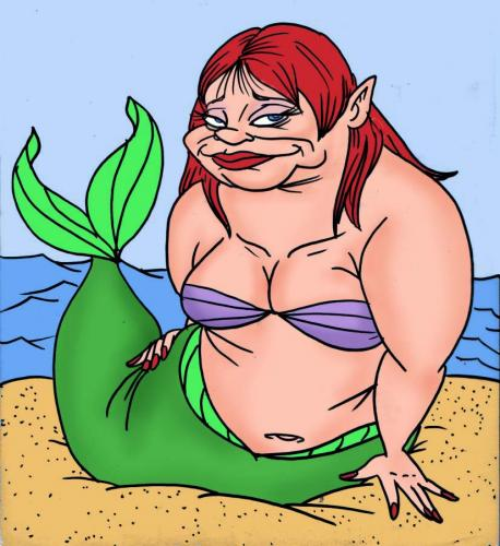 Cartoon: this aint yo mamas mermaids 2 (medium) by subwaysurfer tagged gril,mermaid,cartoon,caricature