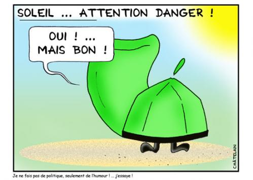 Cartoon: ATTENTION SOLEIL (medium) by chatelain tagged humour,soleil,vacances