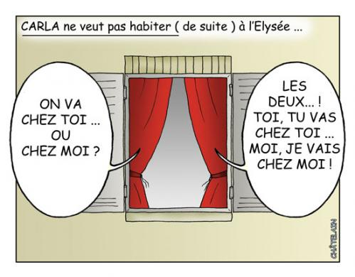 Cartoon: CARLA  A  L ELYSEE (medium) by chatelain tagged carla,elysee,humour,patarsort,chatelain,