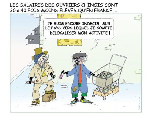 Cartoon: JE DELOCALISE (medium) by chatelain tagged humour,ch,ti,chine,patarsort,libcast,chatelain,
