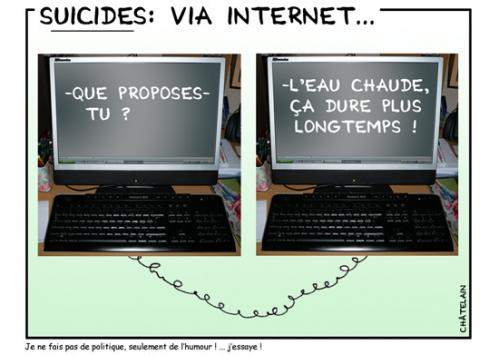 Cartoon: Suicides via internet (medium) by chatelain tagged humour,suicides,internet