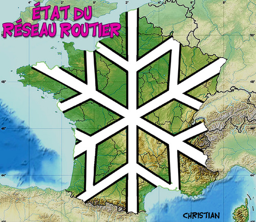 Cartoon: etat des routes en france ... (medium) by CHRISTIAN tagged neige,routes