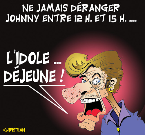 Cartoon: JE ME SUIS TOUJOURS DEMANDE ... (medium) by CHRISTIAN tagged halliday,johnny