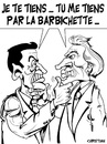 Cartoon: affaire CLEARSTREAM ... (small) by CHRISTIAN tagged sarkozy,villepin,proces,clearstream