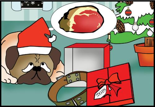 Cartoon: Christmas (medium) by Sandra tagged christmas,meat,tree,dog,mops,baum,geschenk