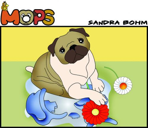 Cartoon: Mops (medium) by Sandra tagged dog,pet,mops,hund