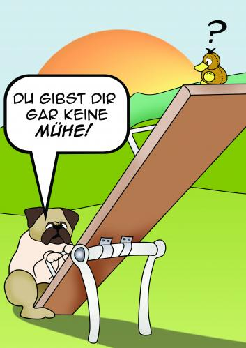 Cartoon: Teeter-Totter (medium) by Sandra tagged mops,dog,wippe