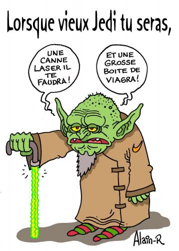 Cartoon: Conseil aux jeunes Padawans (medium) by Alain-R tagged yoda,star,wars