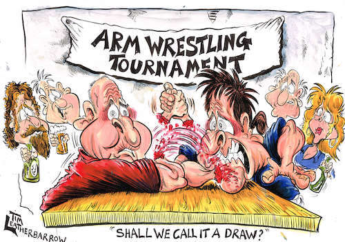 Cartoon: ARM WRESTLING (medium) by Tim Leatherbarrow tagged armwrestling,blood,injury,muscles,strength,bargames,sport