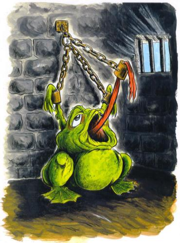 Cartoon: FROG IN JAIL- (medium) by Tim Leatherbarrow tagged frog,frogs,tongue,tied,prison,jail,shackles,dungeon,toad,toads,tim,leatherbarrow