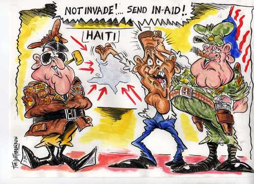 Cartoon: INVADE or send IN AID (medium) by Tim Leatherbarrow tagged haiti,disaster,eartquake,aid,invade,barrack,obama,us