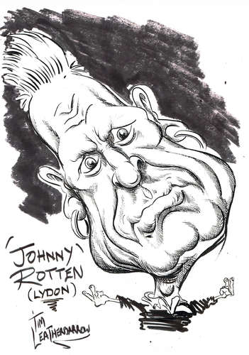 Cartoon: JOHN LYDON - JOHNNY ROTTEN (medium) by Tim Leatherbarrow tagged johnnyrotten,johnlydon,sexpistols,publicimagelimited,punkrock,timleatherbarrow