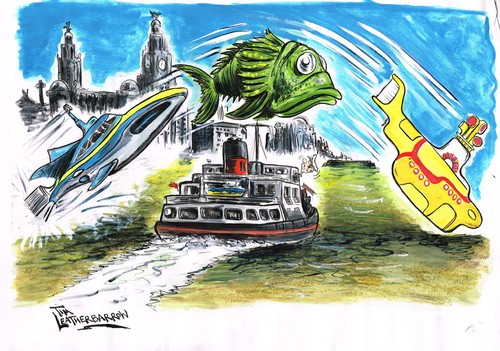 Cartoon: LIVERPOOLS RIVER MERSEY (medium) by Tim Leatherbarrow tagged river,mersey,ferry,yellow,submarine,stingray,beatles
