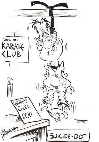 Cartoon: SUICIDE-DO (medium) by Tim Leatherbarrow tagged suicide,karate,blackbelt,dojo,timleatherbarrow