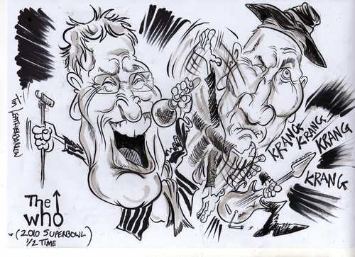 Cartoon: THE WHO (medium) by Tim Leatherbarrow tagged thewho,petetownshend,rogerdaltrey,superbowl,caricature,music,sport