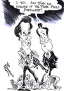 Cartoon: CAMERON AND EASTWOOD (small) by Tim Leatherbarrow tagged david,cameron,clint,eastwood,dirty,harry,riots