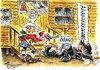 Cartoon: THE TOY GUNFIGHT AT OK CORAL! (small) by Tim Leatherbarrow tagged cowboys,wildwest,gunfight,okcoral,saloon