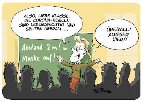 corona in schule By FEICKE | Politics Cartoon | TOONPOOL