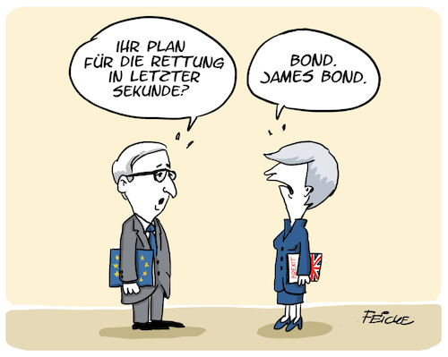 Cartoon: May Rettungsidee (medium) by FEICKE tagged europa,britannien,england,brexit,may,europäische,union,juncker,europa,britannien,england,brexit,may,europäische,union,juncker