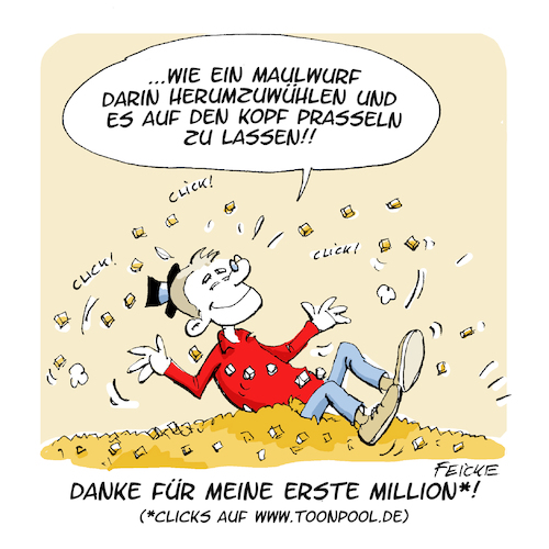 Cartoon: Meine erste Milllion (medium) by FEICKE tagged toonpool,million,feicke,freu,dagobert,duck,toonpool,million,feicke,freu,dagobert,duck